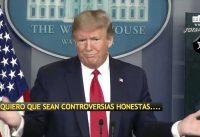 """Trump discutiendo con periodistas: """"Porque no tomó medidas ANTES?!"""" """"Porque perdió tanto tiempo?!"""""""