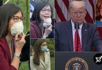 Periodista reacciona ofendidisima ante una respuesta de Trump.-