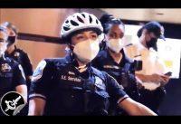 Policia Hispana increpada por horda de colectivistas raciales BLM.-
